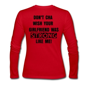 Women's Long Sleeve Jersey T-Shirt - STRONG LOLA on the front