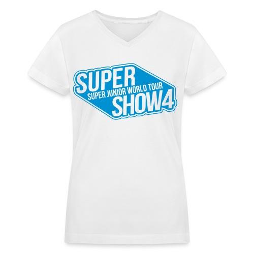[SJ] Super Show 4 (Front Only) - Women's V-Neck T-Shirt