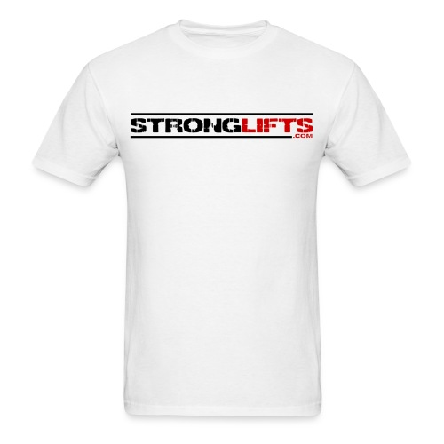 StrongLifts Barbell Goes Here White T-shirt - Men's T-Shirt