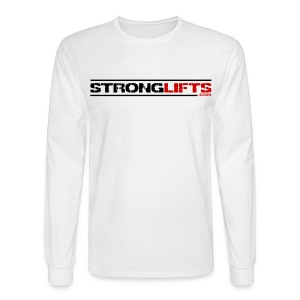 StrongLifts Barbel Goes Here Long Sleeve T-shirt White - Men's Long Sleeve T-Shirt
