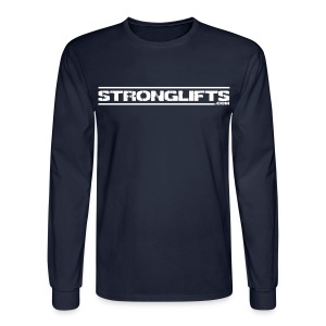 StrongLifts Barbel Goes Here Long Sleeve T-shirt Navy - Men's Long Sleeve T-Shirt