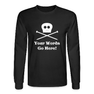 Long Sleeve Shirts ~ Men's Long Sleeve T-Shirt ~ Skull Knitting Needles White Flex Ink