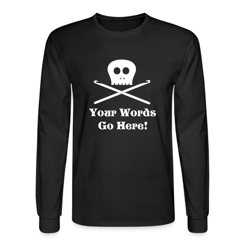 Skull Crochet Hooks White Flex Ink - Men's Long Sleeve T-Shirt