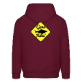 GONE FISHING with a SHARK on a yellow sign Hoodies