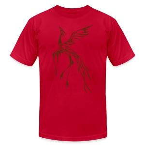 Crane/Phoenix Tribal Tattoo (Brown) Men's American Apparel T-Shirt - Men's Fine Jersey T-Shirt