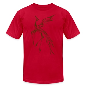 Crane/Phoenix Tribal Tattoo (Brown) Men's American Apparel T-Shirt - Men's T-Shirt by American Apparel