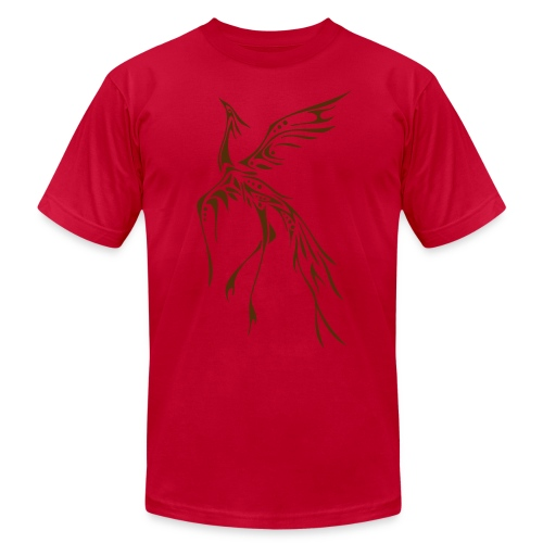 Crane/Phoenix Tribal Tattoo (Brown) Men's American Apparel T-Shirt - Men's Fine Jersey T-Shirt