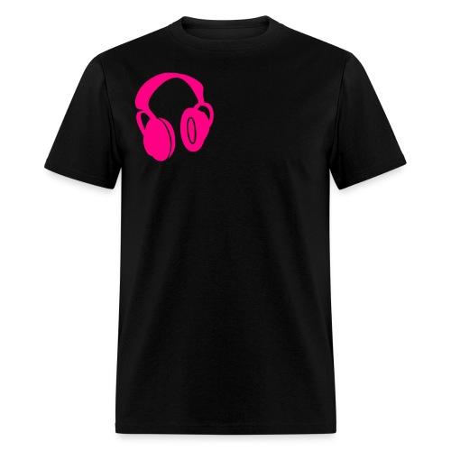 mens headphone pink - Men's T-Shirt