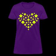 Women's T-Shirts ~ Women's T-Shirt ~ Star Heart - Neon yellow