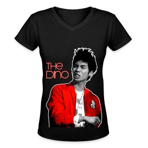 DINO -Black - Women's V-Neck T-Shirt