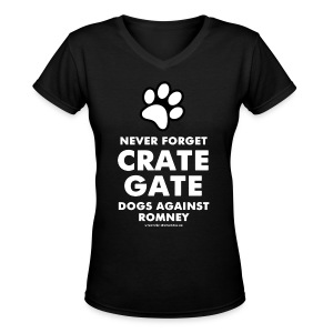 Official Dogs Against Romney Never Forget Crate Gate Women's V-neck Tee - Women's V-Neck T-Shirt