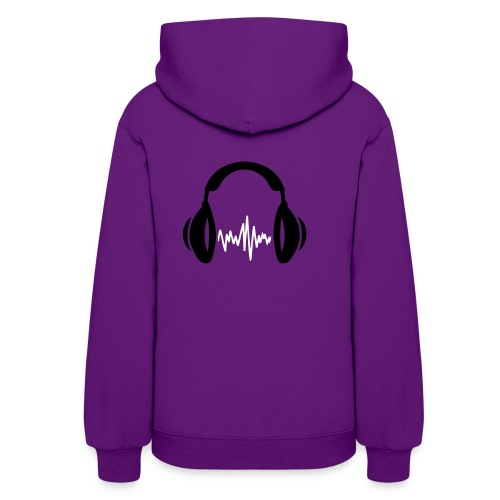 Womens Hooded Sweatshirt Spin Syndicate DJ w/design on back in White Lettering - Women's Hoodie