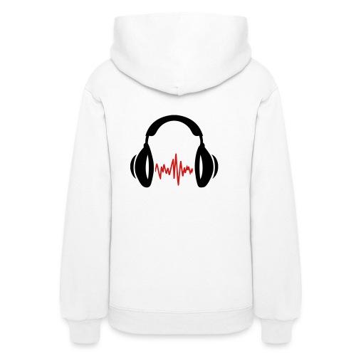 Womens Hooded Sweatshirt Spin Syndicate DJ w/design on back in Red Lettering - Women's Hoodie