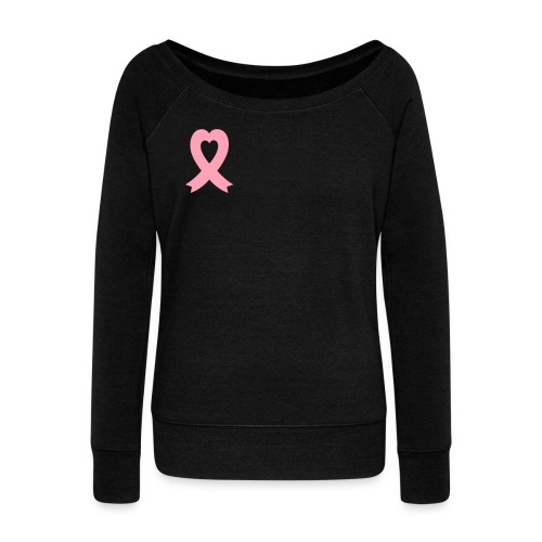 Pink Heart Ribbon - Women's Wideneck Sweatshirt