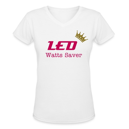 Royal Watts Collection - LED Watts Saver - Girl-V White - Women's V-Neck T-Shirt