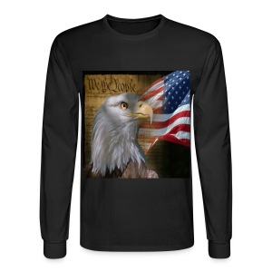 We The People American Eagle Flag Long Sleeve Heavy Weight  T-Shirt w/design on Front - Men's Long Sleeve T-Shirt