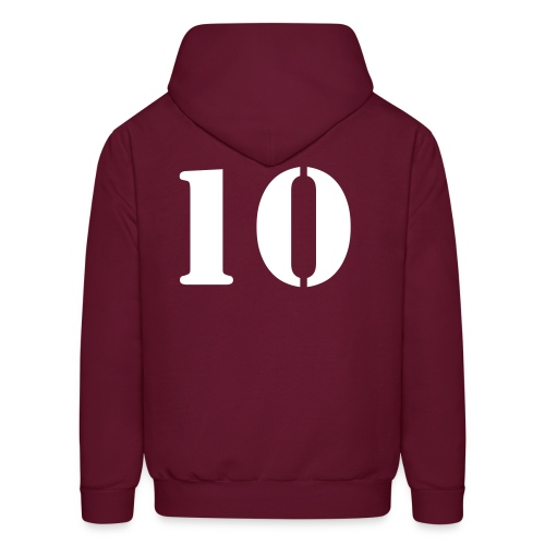 Football and player on banner add your team name - Men's Hoodie