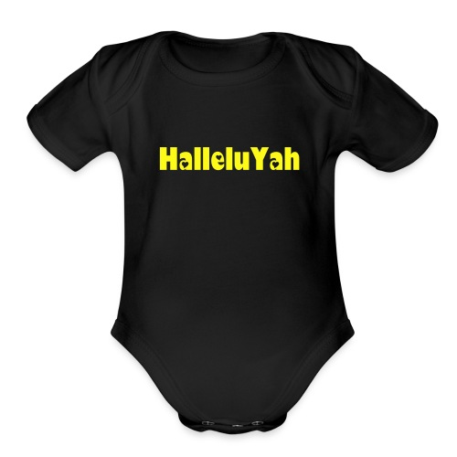 ROY G BIV  - Baby Short Sleeve One Piece - Black/Yellow - HalleluYah - Organic Short Sleeve Baby Bodysuit
