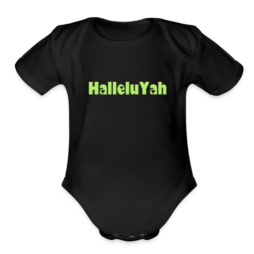 ROY G BIV  - Baby Short Sleeve One Piece - Black/Light Green - HalleluYah - Organic Short Sleeve Baby Bodysuit