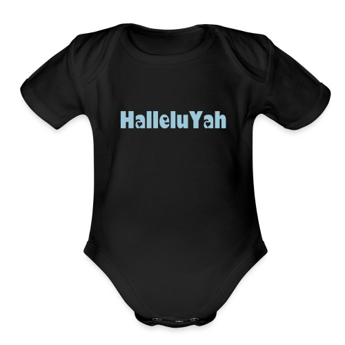 ROY G BIV  - Baby Short Sleeve One Piece - Black/Powder Blue - HalleluYah - Organic Short Sleeve Baby Bodysuit