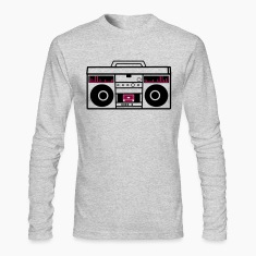 1980 BOOM BOX simple with speakers for a DJ Long Sleeve Shirts