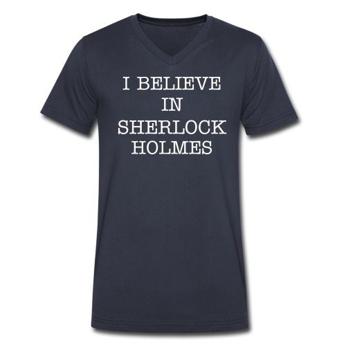 #believeinsherlock men's v-neck - Men's V-Neck T-Shirt by Canvas