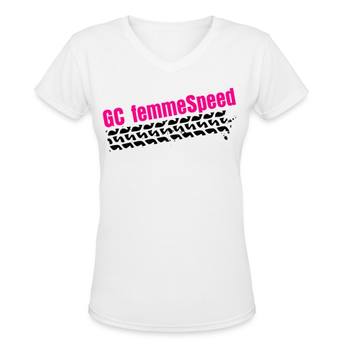 GCFS NEONPINK Tire V-neck - White - Women's V-Neck T-Shirt