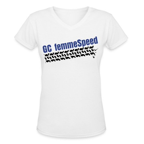 GCFS Royal BlueTire V-neck - White  - Women's V-Neck T-Shirt