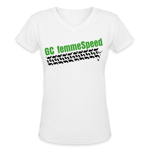 GCFS Green Tire V-neck - White  - Women's V-Neck T-Shirt