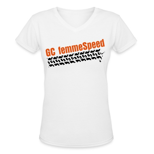 GCFS Orange Tire V-neck - White  - Women's V-Neck T-Shirt