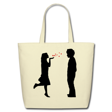 lovers twosome valentine valentines day let me be your valentine love  hearts flying kiss hand couple pair Bags
