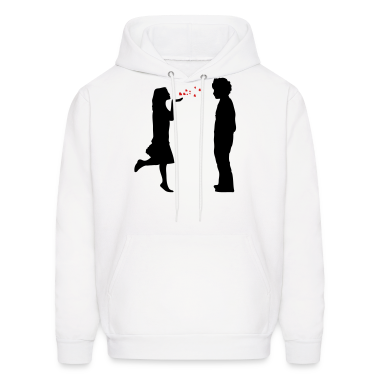 lovers twosome valentine valentines day let me be your valentine love  hearts flying kiss hand couple pair Hoodies