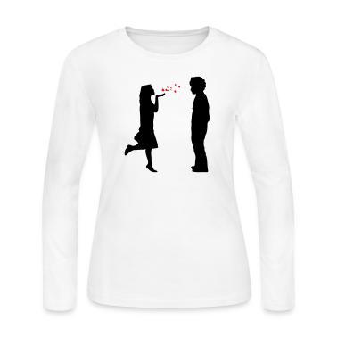 lovers twosome valentine valentines day let me be your valentine love  hearts flying kiss hand couple pair Long Sleeve Shirts