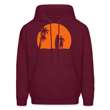 surfer palms sun surfboard surfing sundown sunset swim beach Hoodies