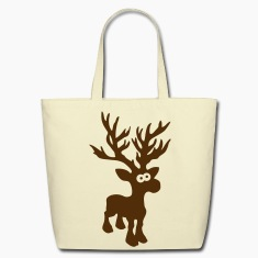 moose caribou reindeer deer christmas rudolph rudolf winter horns antlers deer head Bags