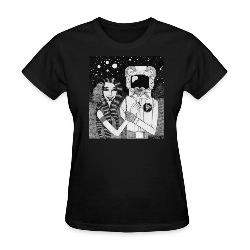 Girl with Ancient Astronaut - Women's T-Shirt