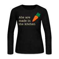 Long Sleeve Shirts ~ Women's Long Sleeve Jersey T-Shirt ~ Abs Are Made In The Kitchen Fitspiration Long Sleeve Fitted Tshirt