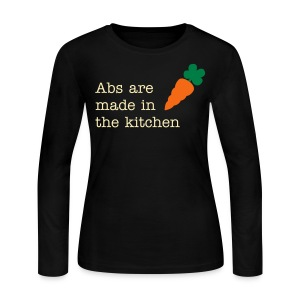 Abs Are Made In The Kitchen Fitspiration Long Sleeve Fitted Tshirt - Women's Long Sleeve Jersey T-Shirt