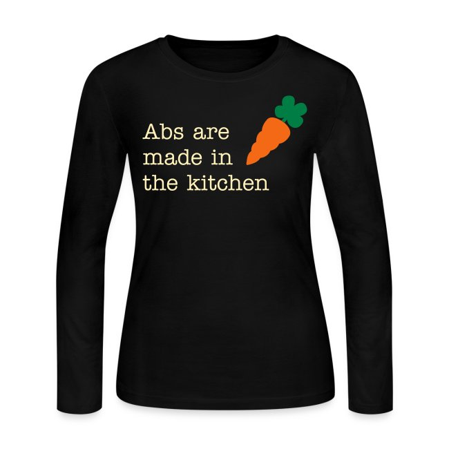 Abs Are Made In The Kitchen Fitspiration Long Sleeve Fitted Tshirt