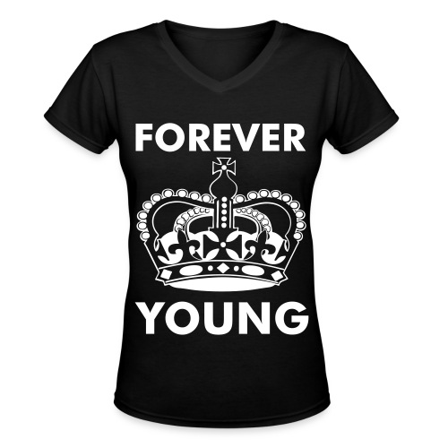 Forever Young Crown - Women's V-Neck T-Shirt