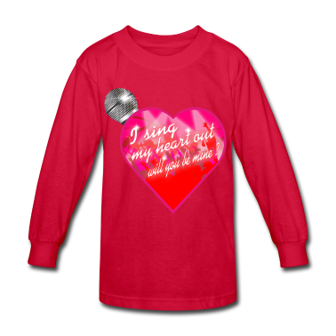 I sing my heart out will you be mine valentine Mic Kids' Shirts