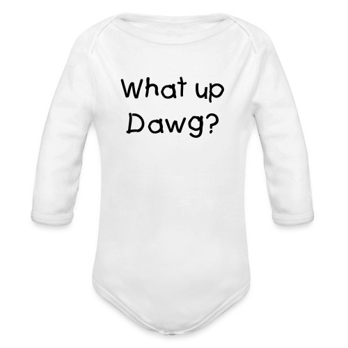 One piece Pink/Black What up dawg - Organic Long Sleeve Baby Bodysuit