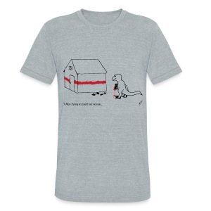 T-Rex Painting House (Am. Apparel) - Unisex Tri-Blend T-Shirt by American Apparel