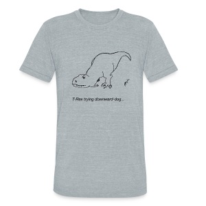 T-Rex Trying Down Dog (Am Apparel) - Unisex Tri-Blend T-Shirt by American Apparel