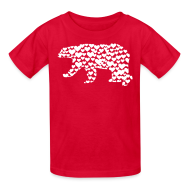 Kantno Polar Bear Hearts Girls Red T-Shirt
