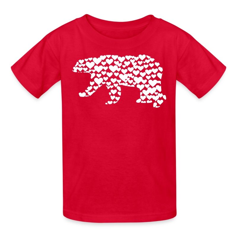 Kantno Polar Bear Hearts Girls Red T Shirt T Shirt