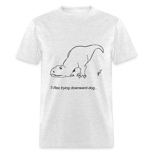 T-Rex Trying Down Dog (Basic Tee) - Men's T-Shirt