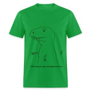 T-Rex Rock, Paper, Scissors (Basic Tee) - Men's T-Shirt