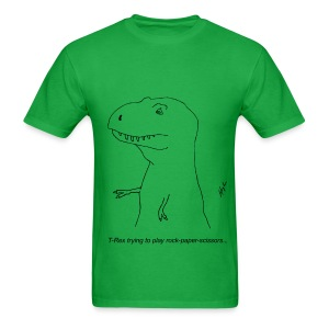T-Rex Rock, Paper, Scissors (Basic Tee) - Men's T-Shirt