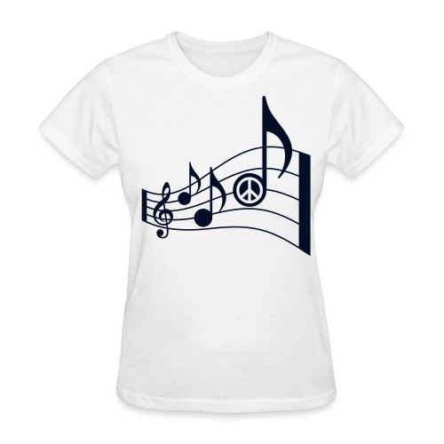 Women's T-Shirt - treble clef,t-shirt,summer fashion,song,peace signs,peace sign,music notes,music